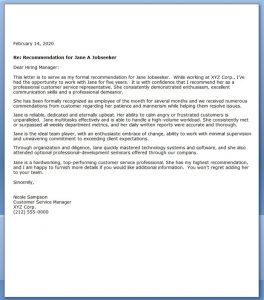 example letters of recommendation samples of a letter of recommendation
