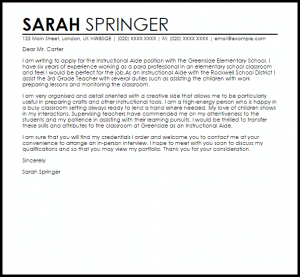 example of a recommendation letter instructional aide