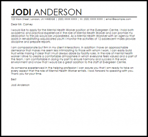 example of a recommendation letter mental health worker