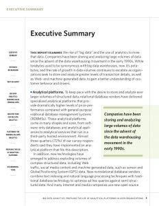 example of an executive summary big data analytics research report