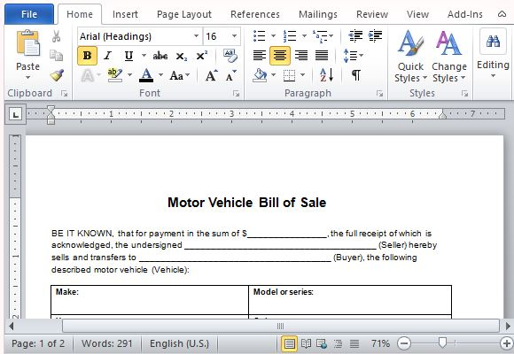 example of bill of sale for car