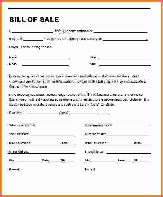 Example Of Bill Of Sale For Car  Template Business