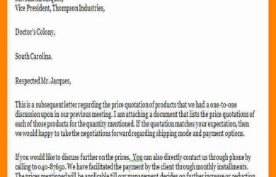 example of business letter price quotation letter quotation cover letter example