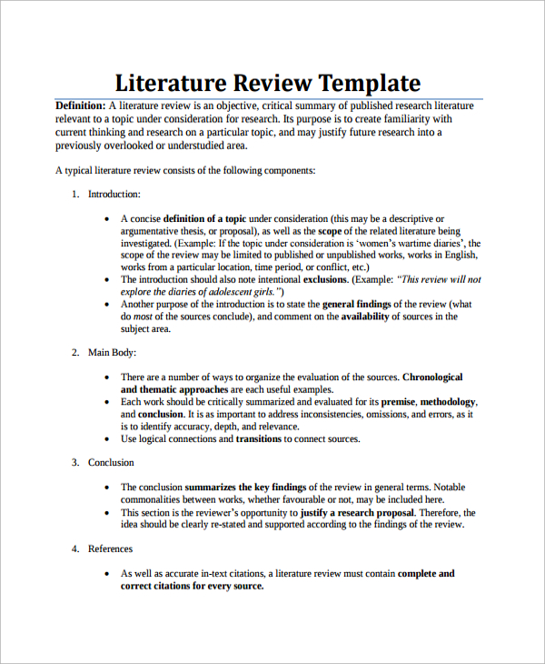 Example Of Literature Review Template Business