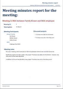 example of meeting minutes meeting minutes meeting in ikea between family brown and ikea employee p