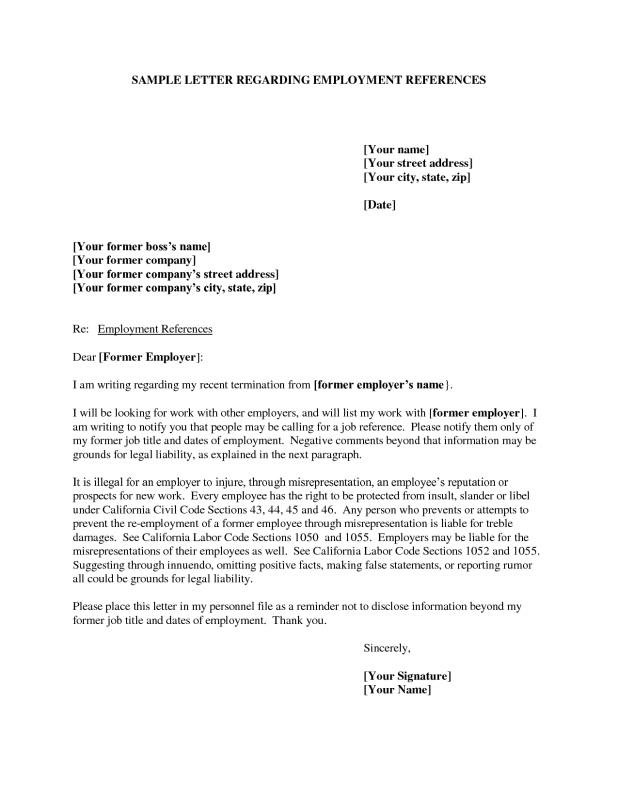 Example Of Reference Letter  Character Reference Letter For Employee