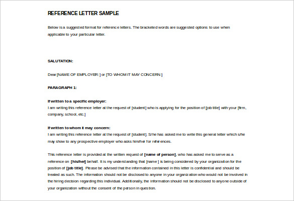 example reference letter