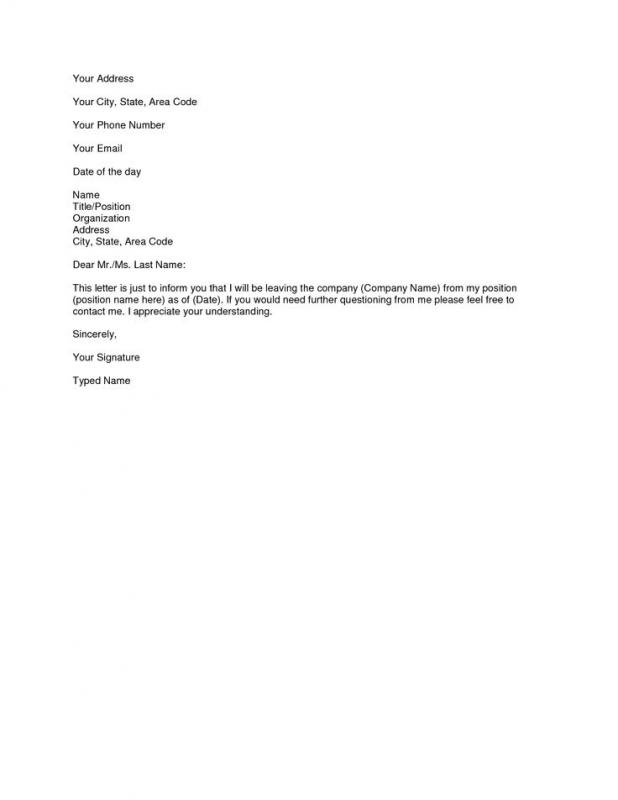 example of resignation letter example resignation letter template business 42207