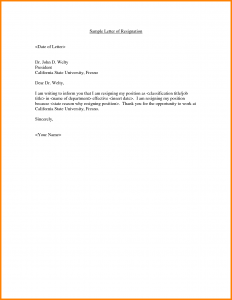 Example Resignation Letter Job Resignation Letter Sample Doc