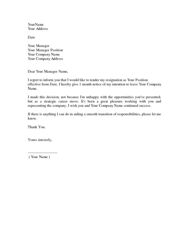 example resignation letter - Template Letters Of Resignation