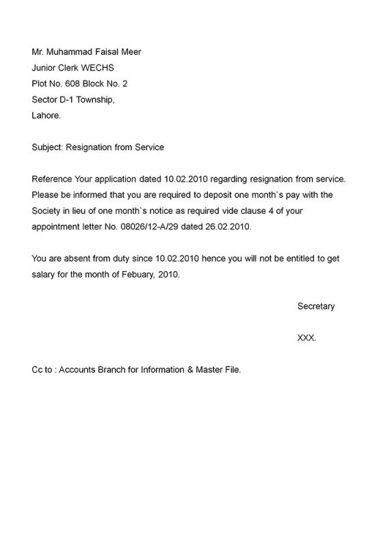 Example Resignation Letter  Template Business