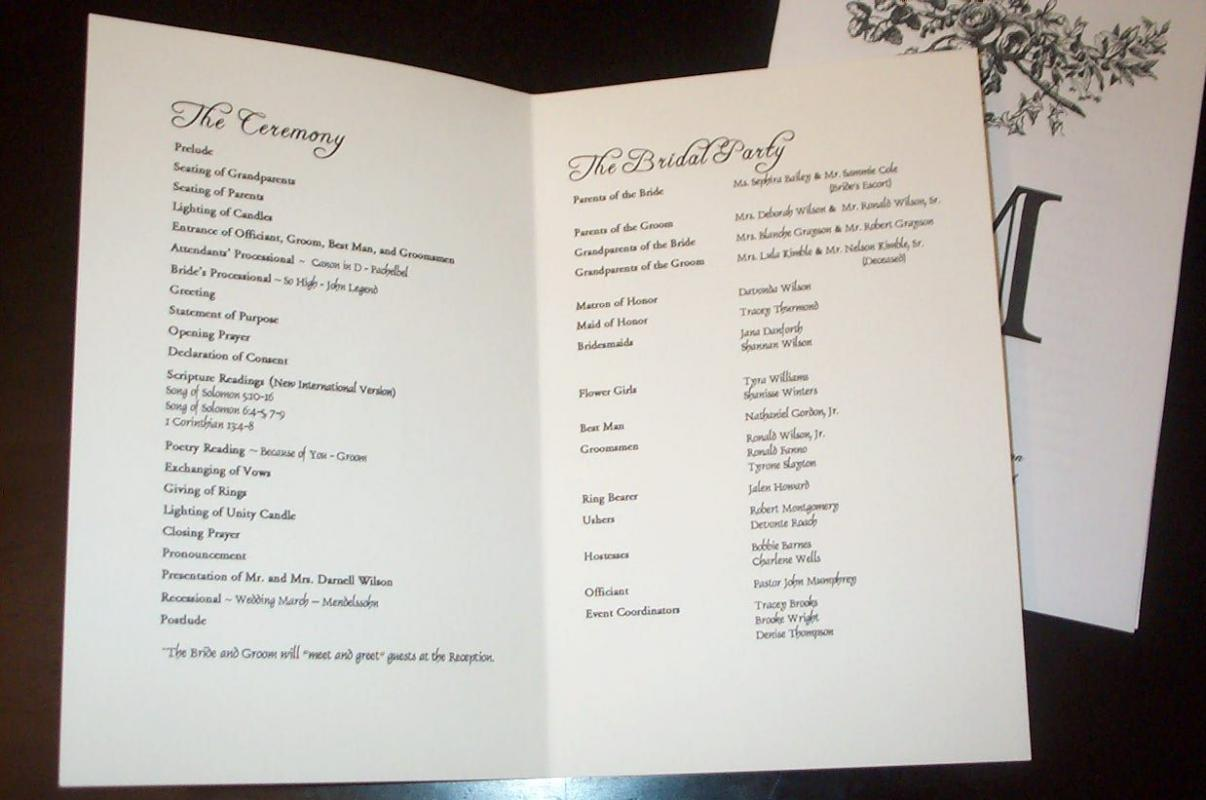 example wedding programs