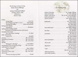 example wedding programs the wedding printer