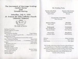 example wedding programs wedding program inside