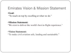 examples of a mission statement customer care of emirate airline