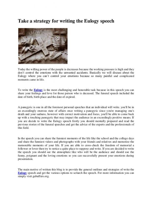 Examples of eulogies template business for Eulogy template for father