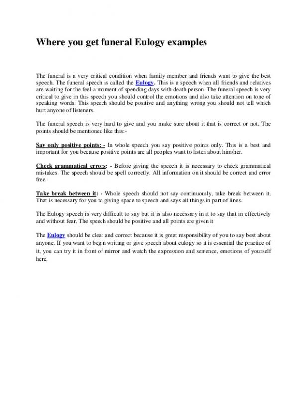 eulogy template for father - examples of eulogies template business
