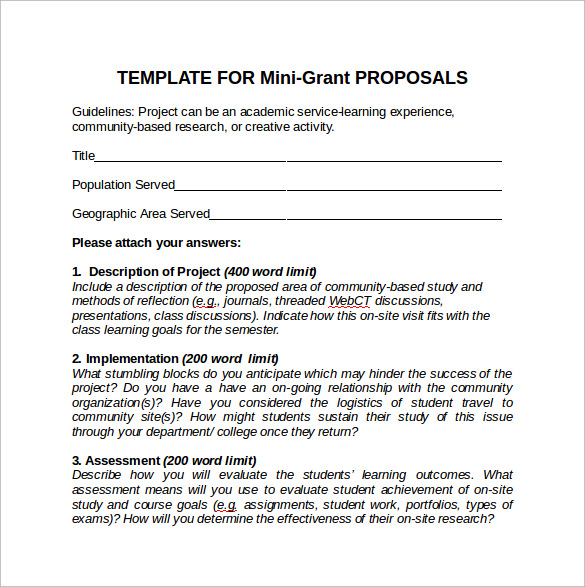 examples of grant proposals