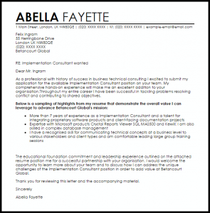 examples of letter of resignation implementation consultant