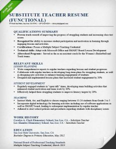 examples of resumes for high school students substitute teacher resume sample functional qualifications summary