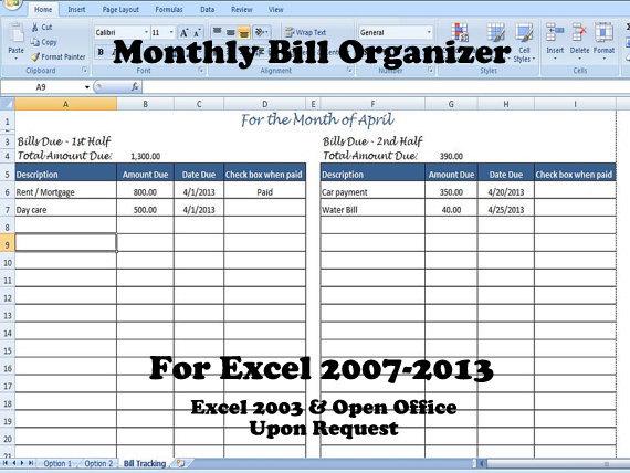 excel bill tracker