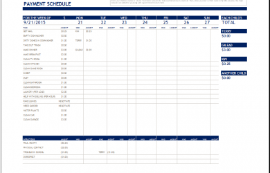 excel chore chart chroe payment schedule