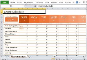 excel chore chart convenient template for assigning household chores