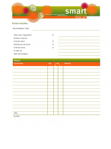 excel order form template blank recipe template d