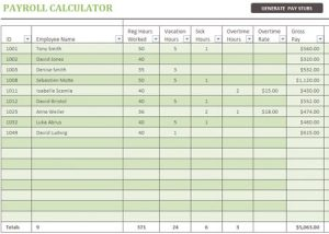 excel payroll template free payroll calculator template