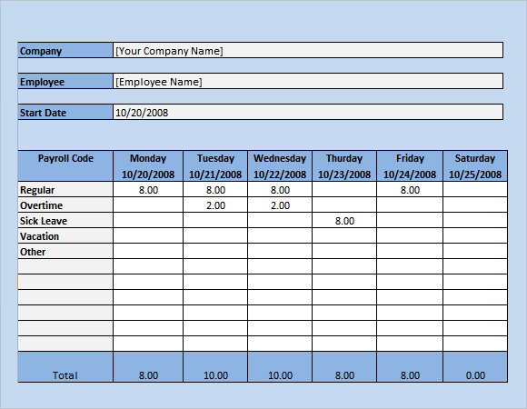 how to make a timecard on excel
