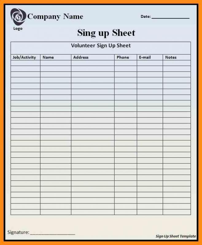 excel sign in sheet
