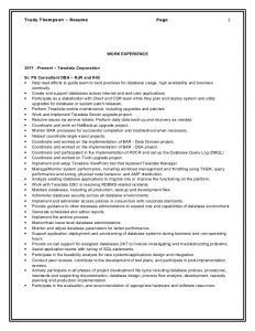 executive resume template word sr teradata dba