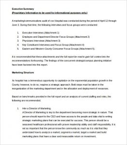 executive summary examples sample market executive summary template free download