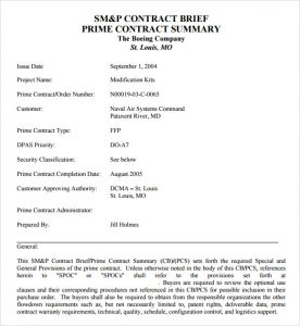 executive summary format example contract brief template