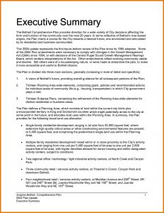 Executive Summary Sample Template Business