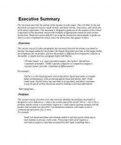 executive summary sample executive summary template
