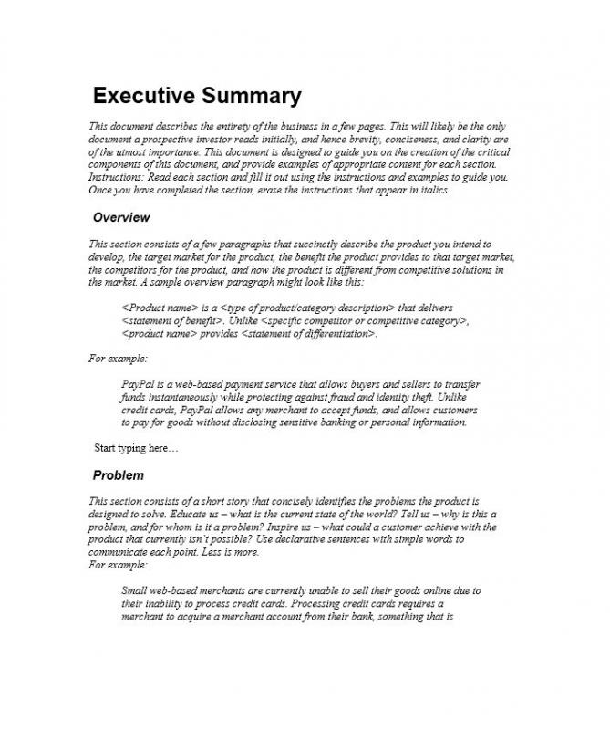 business plans guide executive summary example
