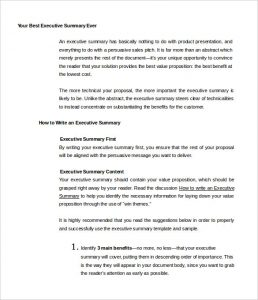 Executive Summary Sample Your Best Executive Summary Ever Template Free  Sample  Best Executive Summary