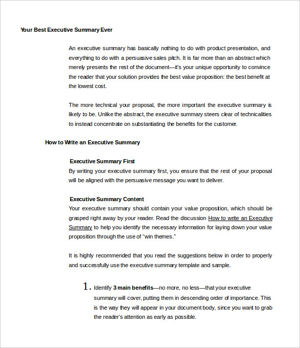Executive Summary Sample  Executive Summary Proposal Template