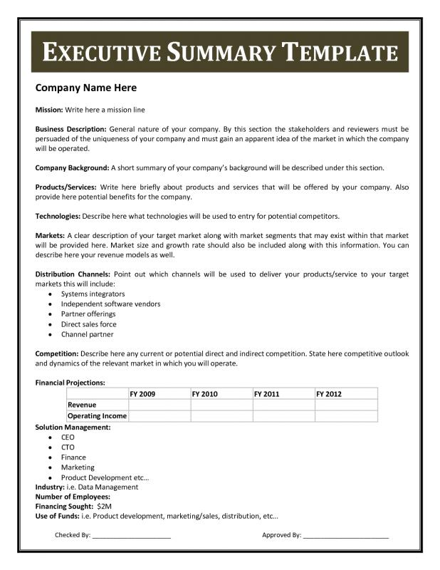 Great Executive Summary Template And Project Executive Summary Template
