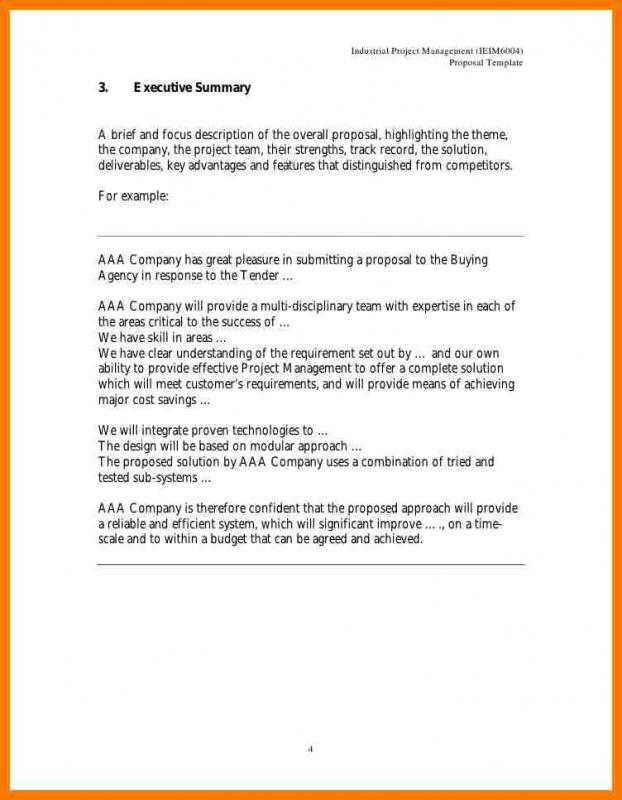 Executive Summary Template For Proposal  Project Executive Summary Template