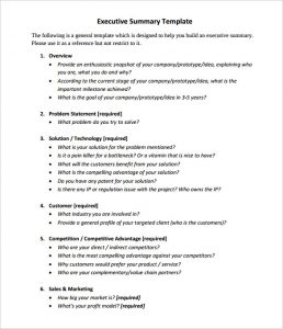 Executive Summary Template Mit Chief Executive Summary Template Sample Pdf  Format  Project Executive Summary Template