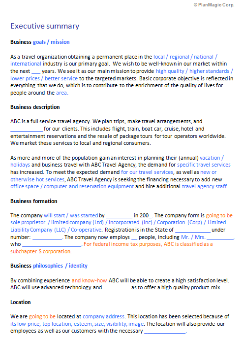 executive summary template word