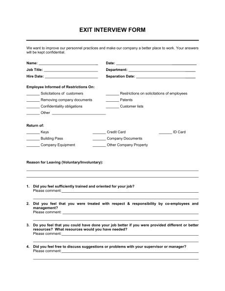 Exit Interview Form Template Business