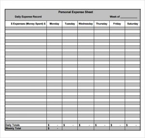 expense sheets templates personal expense sheet template