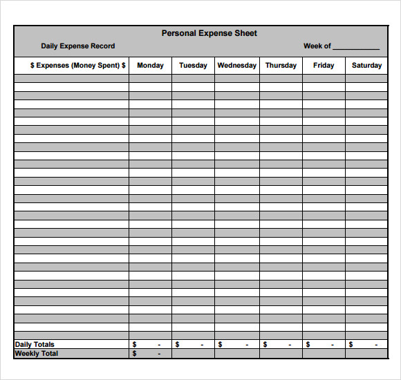 expense sheets templates