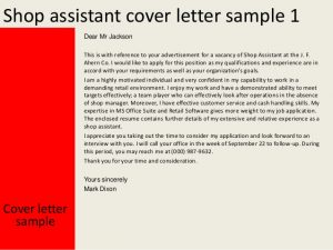 experience letter sample shop assistant cover letter