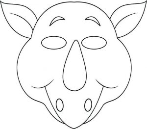 face mask template vbs jungle animal mask rhino bw