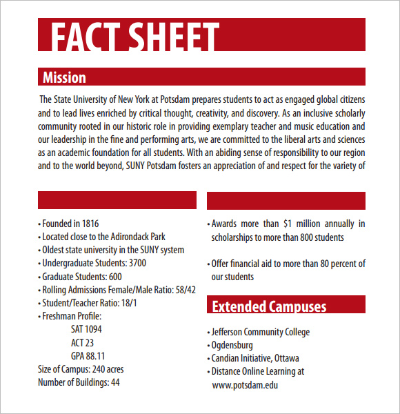 fact sheet template