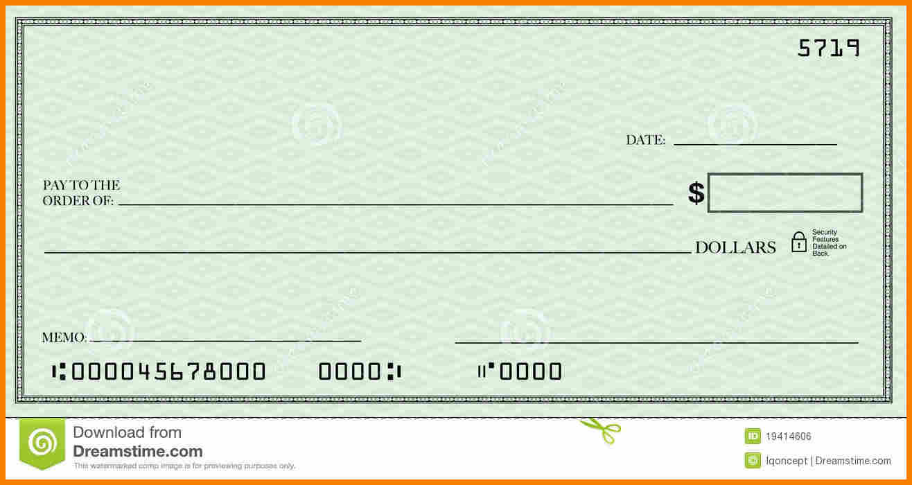 fake check template